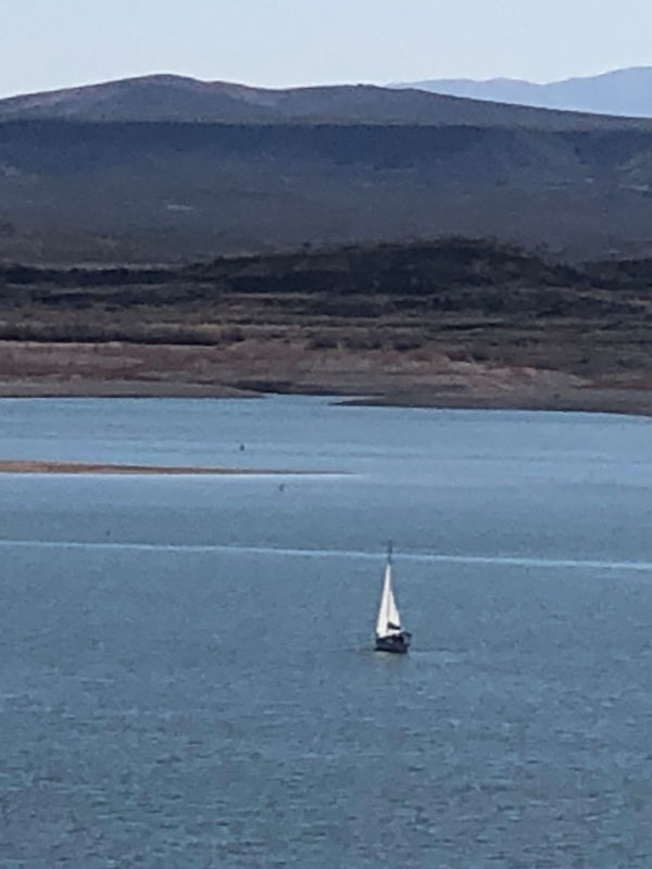Sailboat on Elephant Butte Lake, New Mexico.